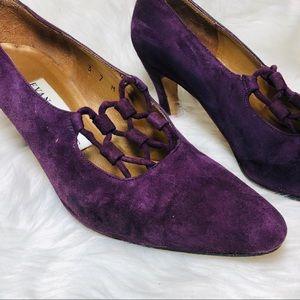 Vintage Evan Picone purple suede heels 7